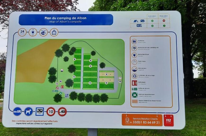 Plan des emplacements du camping car park