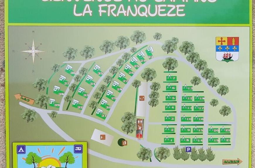 Plan des emplacements du camping car park et des mobilhomes
